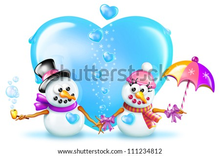 Cartoon Boy and Girl Snowman in front of Ice Heart