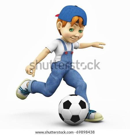 cartoon boy - footballer kick
