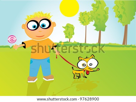 cartoon boy playing with his little cute dog. - stock photo