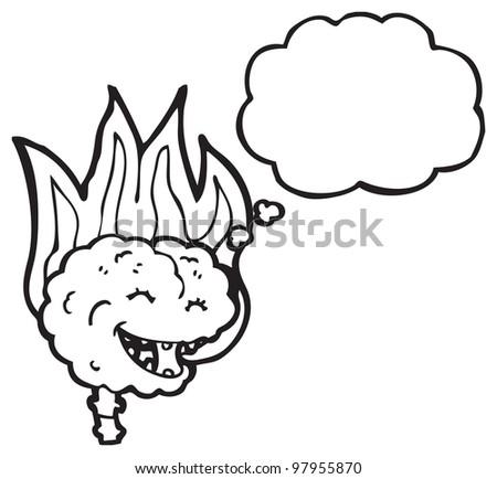 cartoon brain on fire