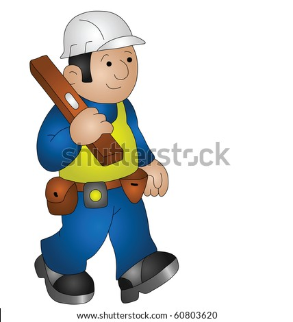 Cartoon builder wearing personal protection equipment for health and safety