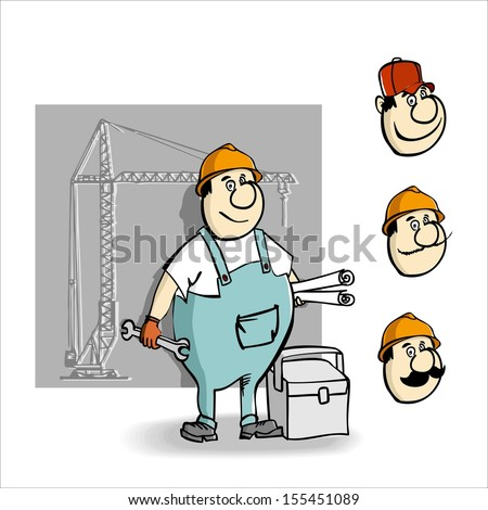 Cartoon builder with a key and drawings for construction.Raster version. The original is also available in my gallery