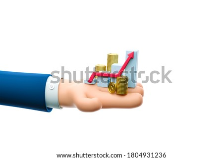 Cartoon businessman character hand hold a money grow concept. 3d illustration.