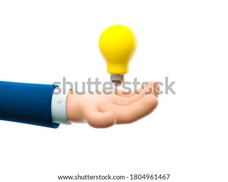 Cartoon businessman character hand holding a big bulb. Concept of creativity. 3d illustration.