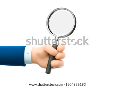 Cartoon businessman character hand holding a magnifying glass. Inspection, exploration, zoom, scrutiny, audit, analysis concepts. 3d illustration.