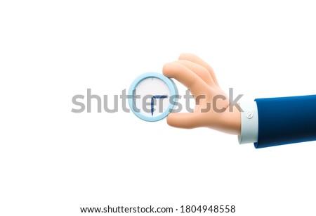 Cartoon businessman character hand holding a watch. 3d illustration.