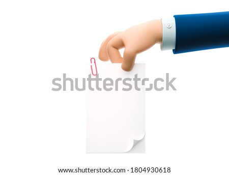 Cartoon businessman character hand holding document. 3d illustration.