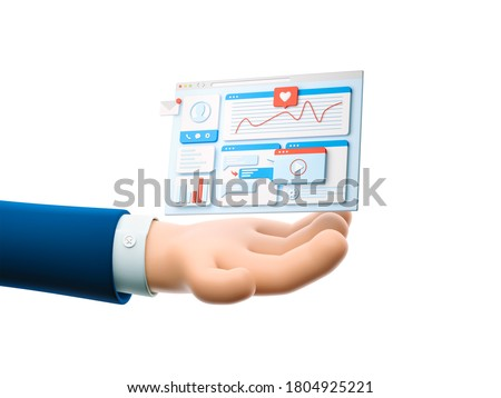 Cartoon businessman character hand  holding landing page. UI and UX concept. 3d illustration.