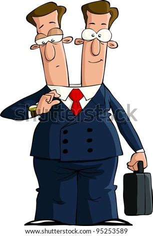 Cartoon businessman with two heads, raster