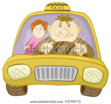 Cartoon Car Taxi With a Man