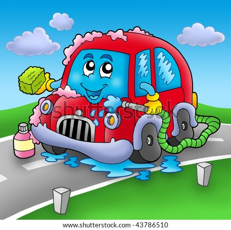 cartoon car wash clip art. stock photo : Cartoon car wash
