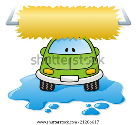 stock photo : Cartoon car washing with roller brush and water splash
