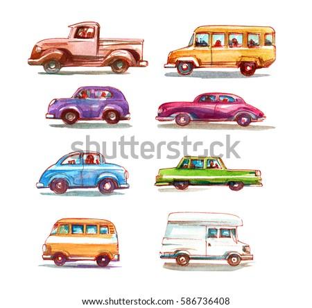 cartoon cars set. watercolor...