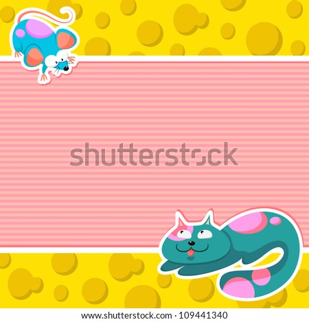 Cartoon cat and a mouse with space for text (vector version available in my gallery)