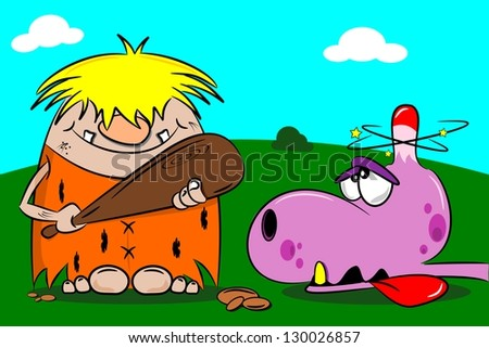 Cartoon caveman out hunting with wooden club and stunned dinosaur