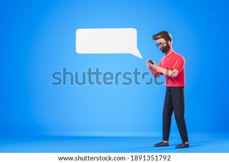 Cartoon character beard man in glasses and red tshirt typing at smartphone over blue background with white text box message cloud. 3d render illustration