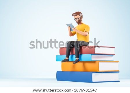 Cartoon character beard man in glasses yellow tshirt seat at books and use digital tablet. Online education concept. 3d render illustration.