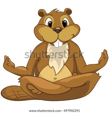 Cartoon Character Beaver. Isolated on White Background.