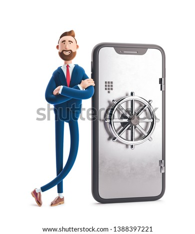 Cartoon character Billy stand with a telephone in the form of a safe. Mobile banking concept. Online Bank. 3d illustration