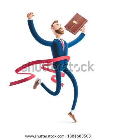Cartoon character Billy winning the competition. Successful businessman. 3d illustration