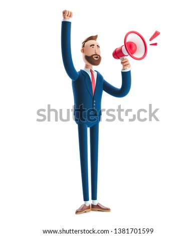 Cartoon character Billyshouting through loud speaker. 3d illustration