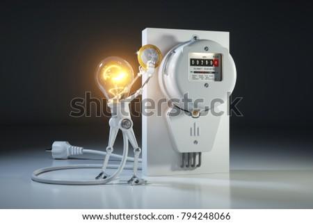 Cartoon character bulb light robot pays tariffs utility in kilowatt hour meter. 3d concept