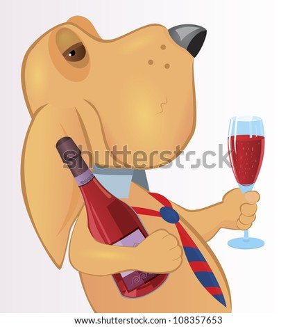 Cartoon character dog holding bottle and glass of wine raster illustration