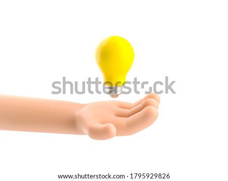 Cartoon character hand holding a bulb. 3d illustration.