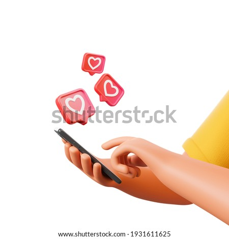 Cartoon character hand holding smartphone with social network like heart icons isolated over white background. 3d render illustration