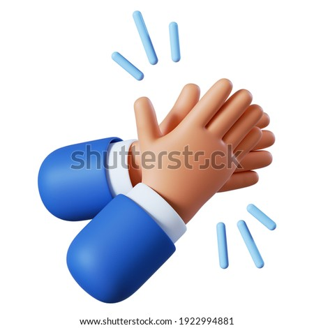 Cartoon character hands clapping or applause with loud noise. Business clip art isolated on white background. Performance 3d illustration.