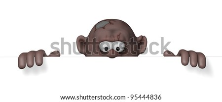 cartoon character is looking on blank white board - 3d illustration