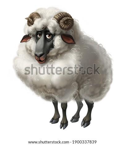 cartoon character mutton sheep digital painting Foto stock ©