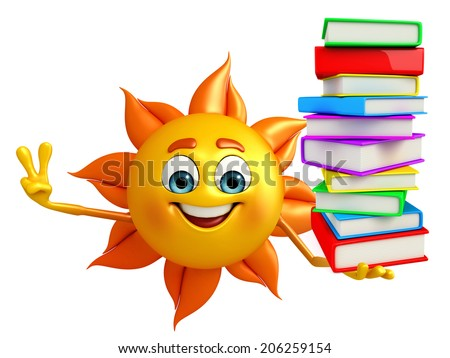 Cartoon Character of sun with Books pile