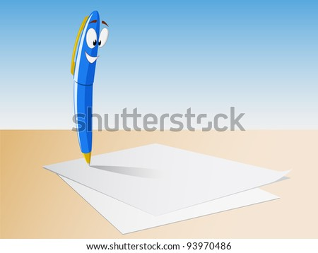 Cartoon character pen on the background paper sheets. Vector available.