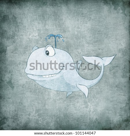 Cartoon Character Whale Isolated on White Background. Vector.