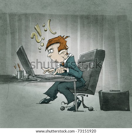 cartoon character working at the computer