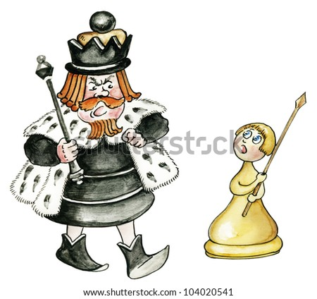 cartoon chess king and pawn isolated