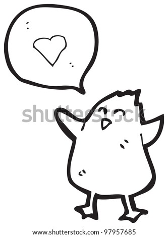 cartoon chick with love heart