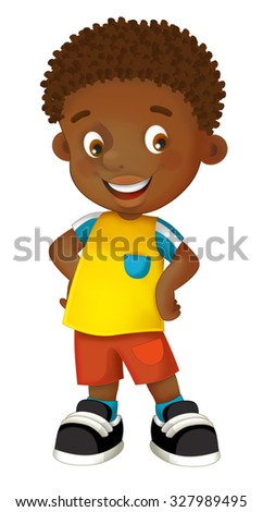Cartoon child - happy boy - illustration for the children