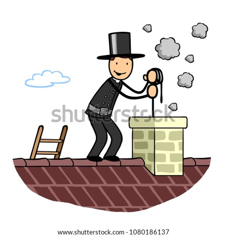 Cartoon chimney sweep successfully at work on a roof expertly cleaning a chimney
