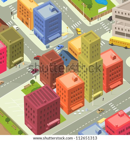 Cartoon City Aerial View/ Illustration of a cartoon city life scene, with aerial view of downtown traffic, with cars and bus, and people walking on the pavement