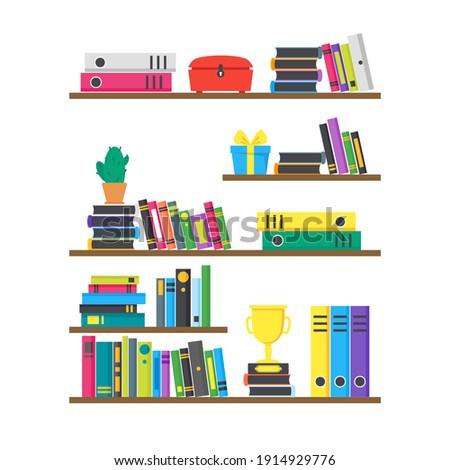 Cartoon Color Case Box with Books Interior Concept Flat Design Style . illustration of Book Shelf Foto stock ©