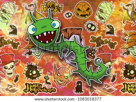 Stock Photo Cartoon colorful halloween illustration set of diverse funny and evil bizarre creatures and characters, vampires, zombies, monsters, imps, mascots