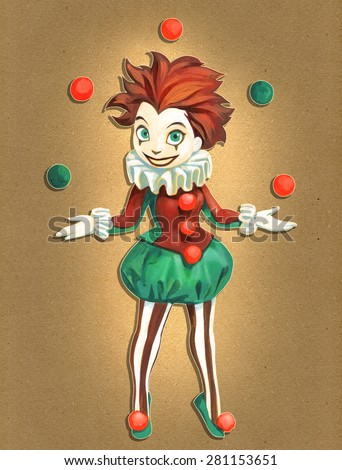 Cartoon colorful illustration of a pretty juggling clown girl in red and green stage costume