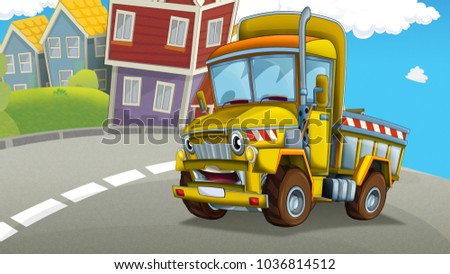 cartoon construction truck on the street of the city - illustration for children