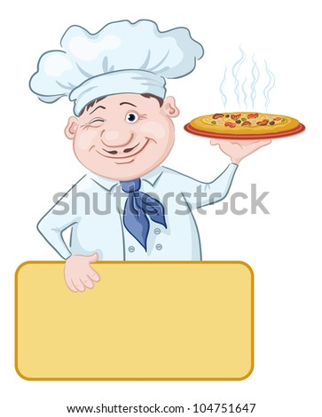 Cartoon cook - chef with delicious hot pizza and poster, free for your text