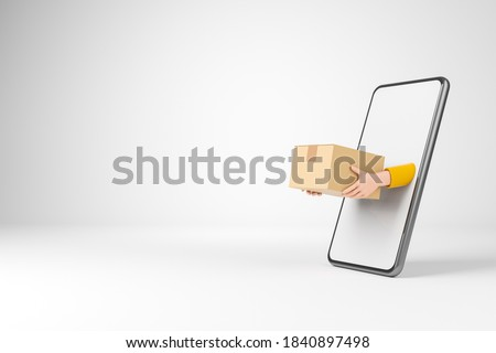 Cartoon courier hans from smartphone in yellow jacket holding cardboard box over white background. Online shopping and delivery concept. 3d render illustration.