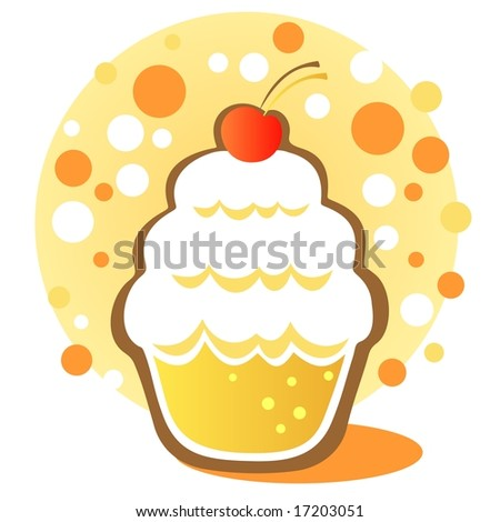 cupcakes cartoon background. stock photo : Cartoon cupcake