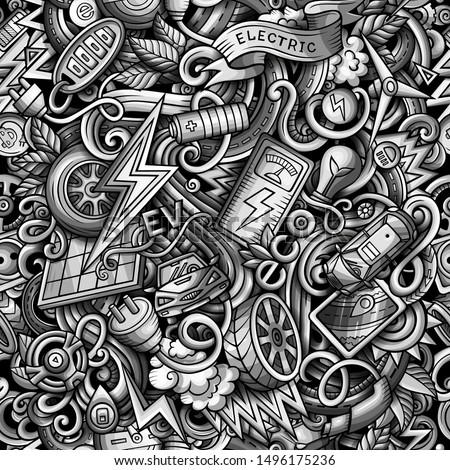 Cartoon cute doodles Electric vehicle seamless pattern.Monochrome detailed, with lots of objects background. All objects separate. Backdrop with eco cars symbols and items