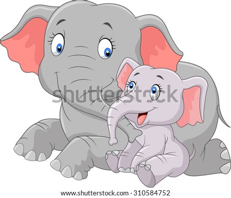 Cartoon cute Mother and baby elephant